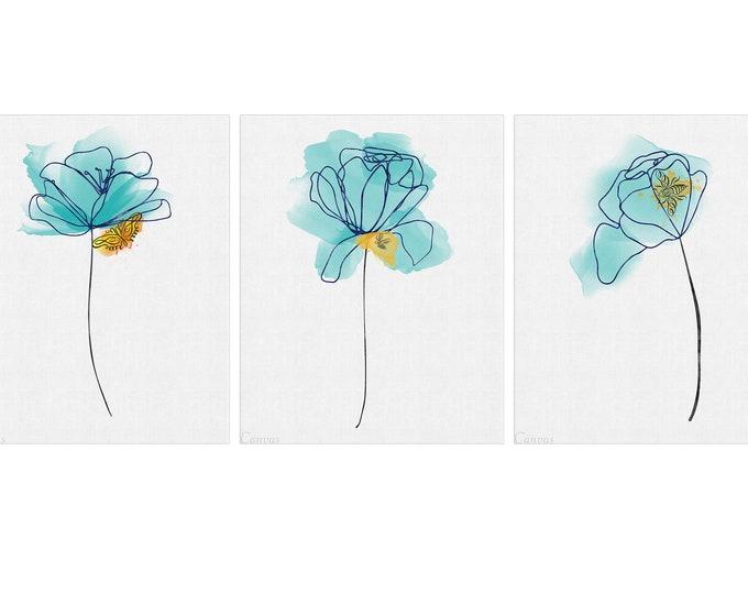 Abstract Flower, Line Art Print, Set of 3, Floral Painting, Abstract Flower Print, Teal Wall Art, Abstract Art Print, Botanical Art