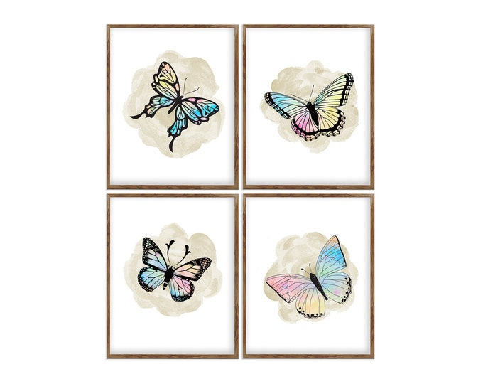 Butterfly Prints, Set of 4, Bedroom Décor, Art Prints, Wall Art Canvas, Nature Illustration, Farmhouse Decoration, Insect Art