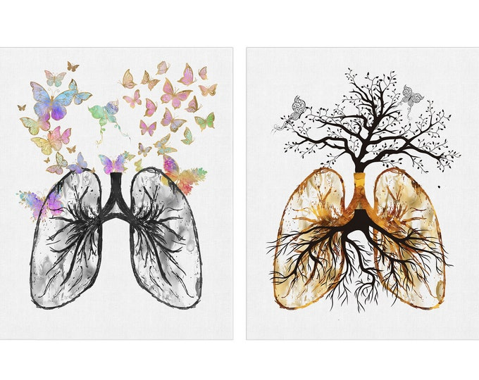Lungs Wall Art, Vintage Lung Print, Set Of 2 Prints, Medical Art, Lungs Anatomy, Pulmonologist Clinic, Surgeon Gift