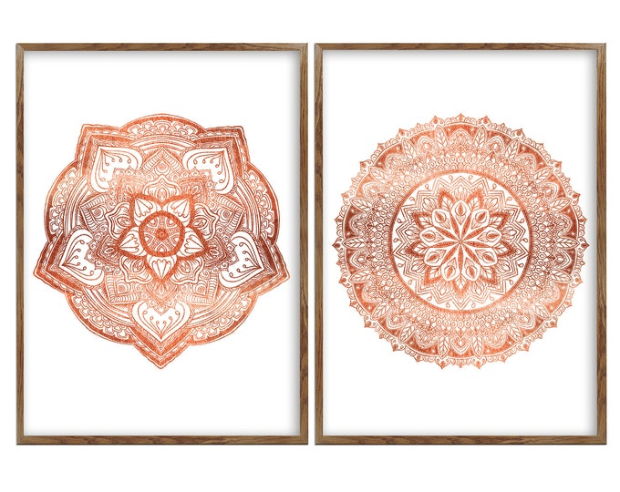 Mandala Set, 2 Piece Canvas Art, Living Room Wall Hanging, Gold Décor, Bohemian Wall Décor, Housewarming Gift, Ethnic Décor, Sacred Geometry