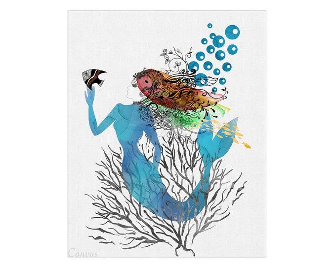 Mermaid Painting, Watercolor Painting, Mermaid Art Print, Sea Life Décor, Beach House Art, Nursery Wall Art, Ocean Decoration