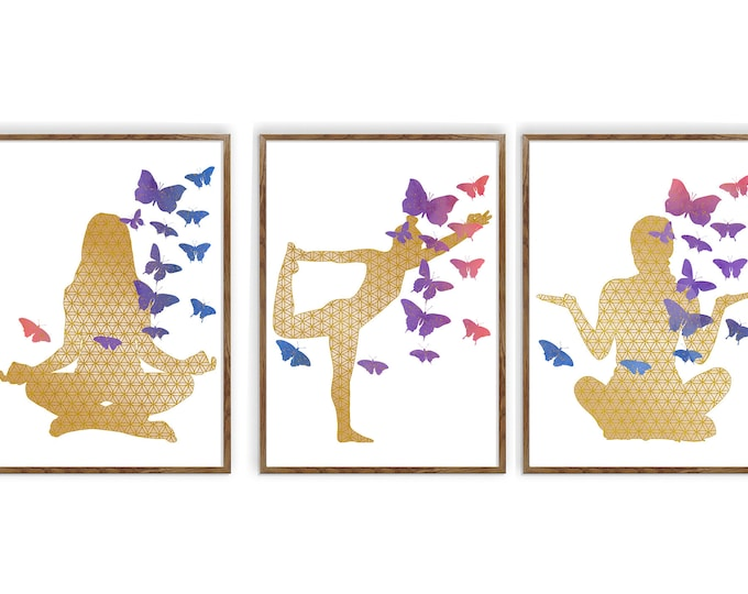 Yoga Poses Set of 3, Watercolor Décor, Yoga Studio, Yoga Pose Poster, Yoga Wall Art, Wall Art