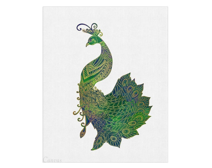 Peacock Décor, Bird illustration, Tropical Wall Décor, Nature Watercolor, Jungle Art, Bohemian Illustration, Animal art