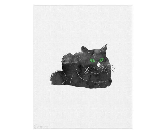 Black Cat, Canvas Wall Art, Cat Print, Watercolor Painting, Art Print, Bedroom Wall Décor, Cat Lover Gift, Minimalist Art
