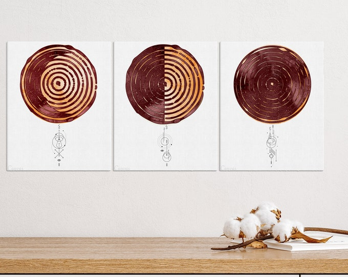 Set of 3 Lunar Phases Print, Moon Phase Print, Wall Art, Above Bed Art, Boho Wall Art, Red Home Decor, Bedroom Wall Art