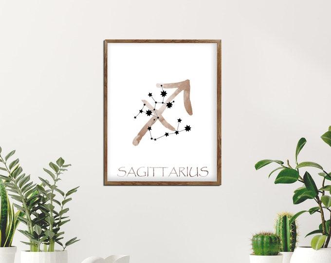 Sagittarius Art, Personalized Gift, Watercolor Art, Zodiac Sign Print, Art Print, Birth Month, Astrology Print, Zodiac Art