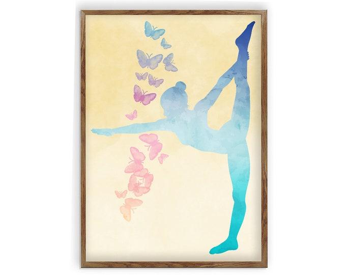 Yoga Pose Poster, Yoga Pose Print, Dancer Pose Yoga Print, Yoga Silhouette Print, Watercolor Yoga Print