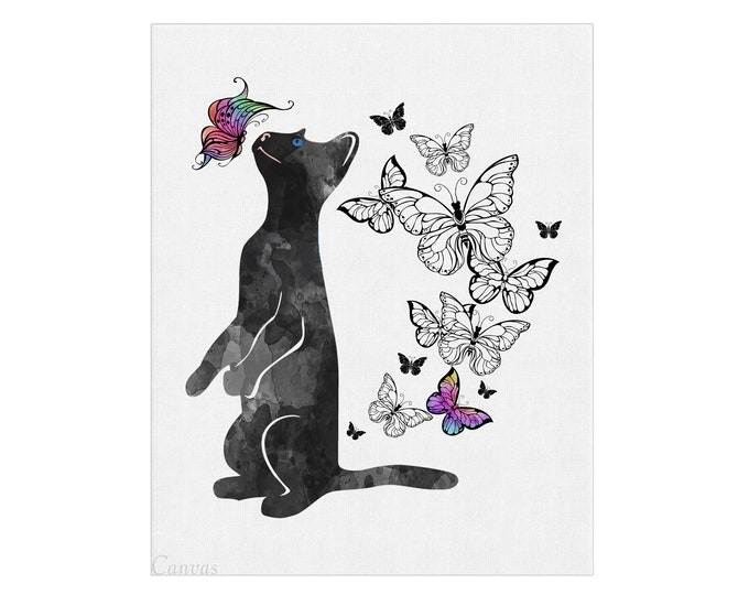 Cat Print, Black Cat, Canvas Wall Art, Watercolor Painting, Art Print, Bedroom Wall Décor, Cat Lover Gift, Butterfly Art