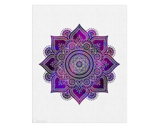 Mandala Wall Art, Purple Bohemian Wall Décor, Flower Mandala, Bedroom Decoration, Living Room Décor, Yoga Room Art