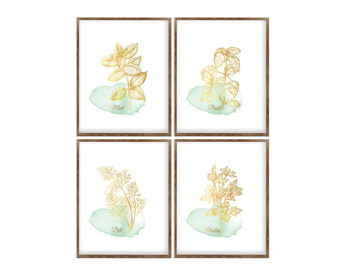 Herb Painting, Herbs Art Prints, Set of 4, Watercolor Painting, Dining Room, Wall Art, Gallery Wall Set, Kitchen Décor, Herb Prints