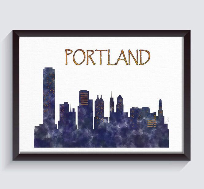 Portland Print, Portland Poster, Portland Skyline