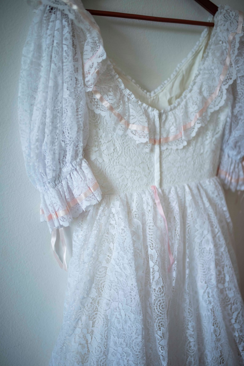 Boho Princess Dress Vintage Weddings 1980s Ruffles /& Lace Wedding