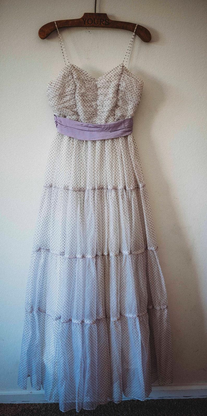 Purple /& White Prom Dress Vintage Prairie Dress Vintage Swiss Dot Dress