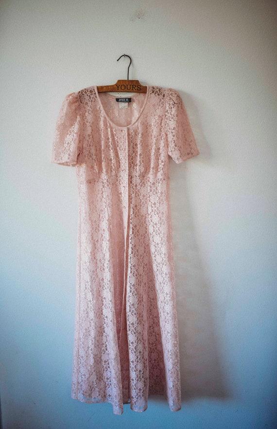 Romantic Pink Lace || Sheer Vintage Dress || Grung
