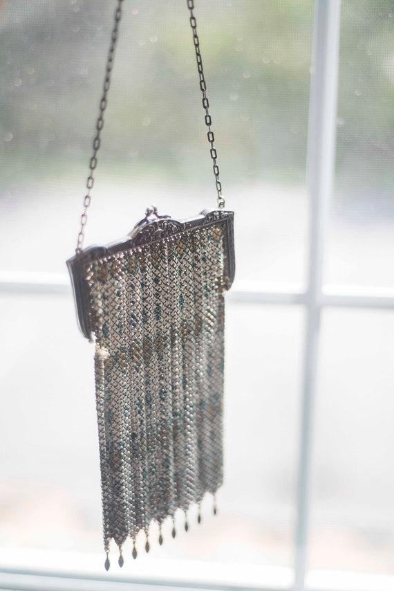 1920s Vintage Flapper Bag || Chain Metal Mesh Purs