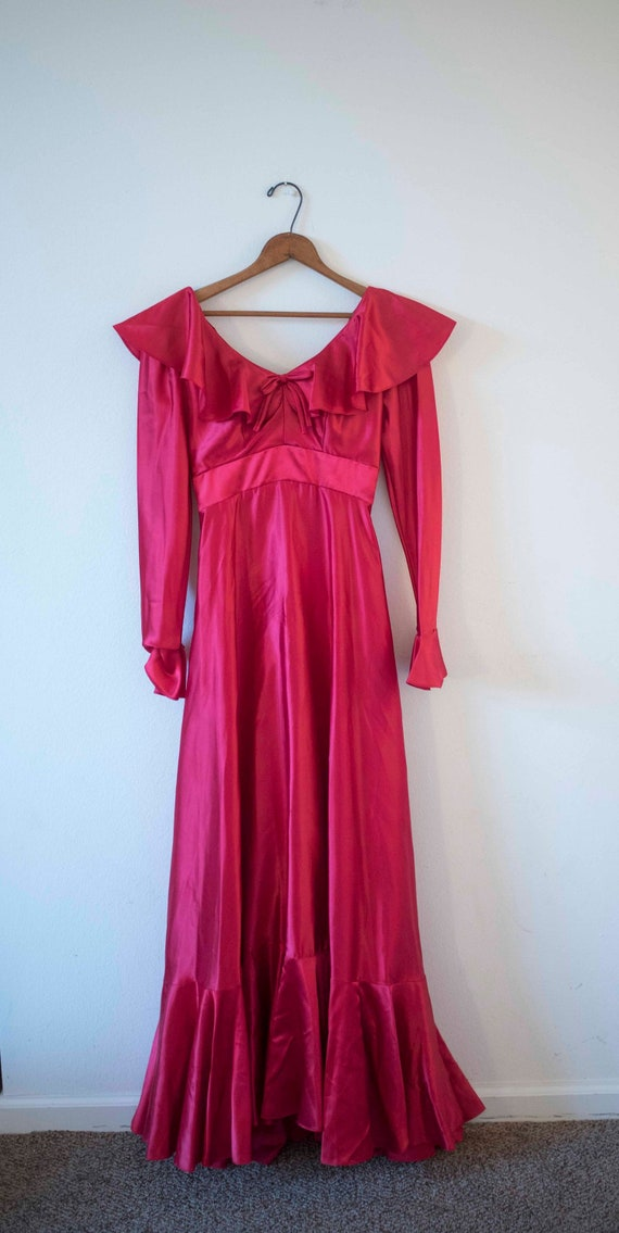 1970s Satin Red Dress || Holiday Gown || Christmas