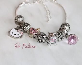Bracelet | Sweet Kitty | -PANDORA compatible in Silver 925, adjustable. nine beads.