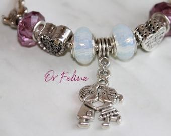 Bracelet | LOVE A DISNEY | -PANDORA compatible in Silver 925, adjustable. nine beads.