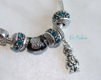 Bracelet | Pinocchio in blue | -PANDORA compatible in Silver 925, adjustable. nine beads.