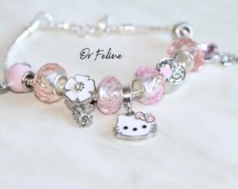 Bracelet | Like cat & girly mouse | -PANDORA compatible in Silver 925, adjustable. nine beads.