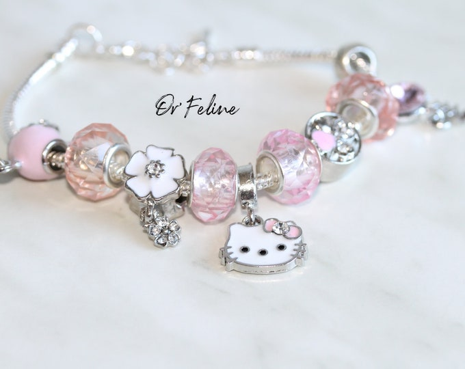 Featured listing image: Bracelet | Like cat & girly mouse | -PANDORA compatible in Silver 925, adjustable. nine beads.