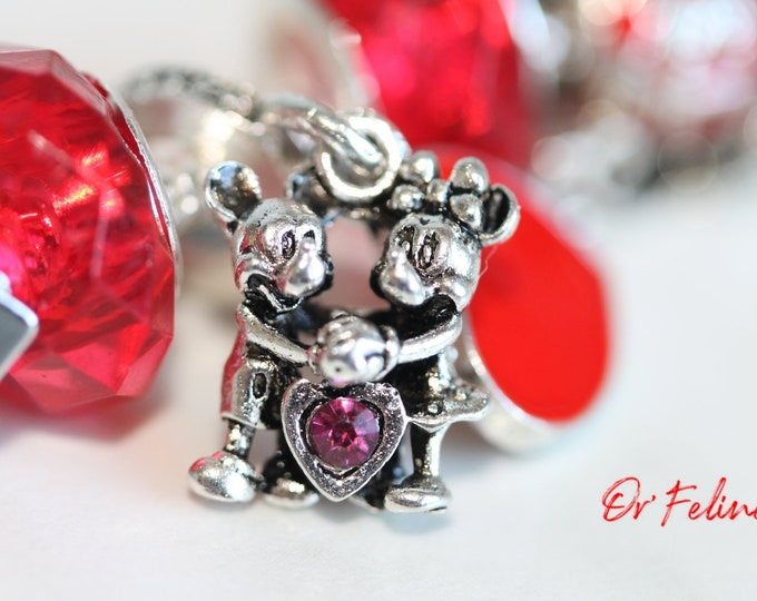 Featured listing image: Bracelet | Love in red by Disney | -PANDORA compatible in Silver 925, adjustable. nine beads.