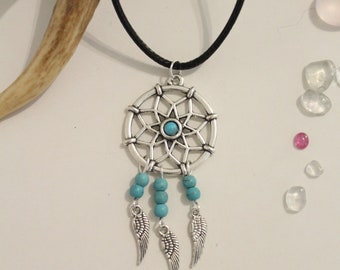 """Necklace """"DreamCatcher feather"""" and beads of Turquoise ↠ Protection, communication, joy, and insurance. Boho, Zen ↠."""