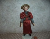 1 12 scale Dollhouse Miniature Victorian lady Doll (Dark rust and gray dress)