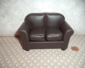 1:12 Scale Dollhouse Miniature Modern Brown Leather Look Loveseat