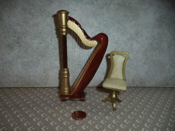 1//12 Scale Dollhouse Miniature Vintage Musical Instrument 8-strings Harp
