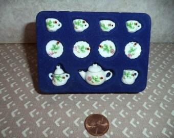 1:12 scale Dollhouse Miniature Porcelain Tea set (13 pcs. )