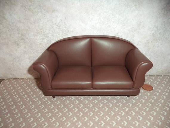1:12 scale Dollhouse Miniature Brown Leather look sofa