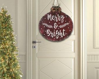 christmas door hanger christmas decorations vintage christmas decor merry bright farmhouse christmas