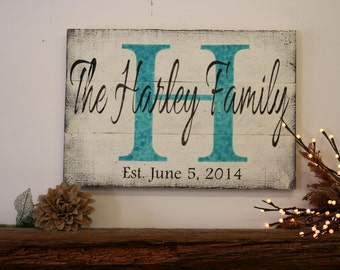 Personalized Name Sign Custom Name Sign Initial Sign Wood Pallet Sign Wedding Gift Bridal Shower Gift Housewarming Gift Distressed Wood Sign