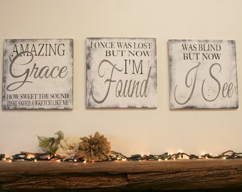 Amazing Grace Sign Christian Wall Art Distressed Wood Rustic Wood Sign Shabby Chic Religious Sign Country Decor Primitive Handpainted