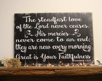 Great Is Your Faithfulness Wood Sign Pallet Sign Christian Wall Art Home Decor Distressed Wood Sign Religious Wall Art Handpainted Handmade