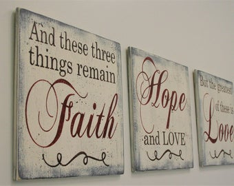 Wood Sign Christian Wall Art Christian Wall Hanging Christian Wall Decor Faith Hope Love Decor Shabby Chic Decor Distressed Wood Sign
