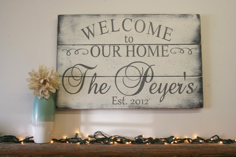 Custom Wood Sign Welcome To Our Home Wood Sign Pallet Sign ...