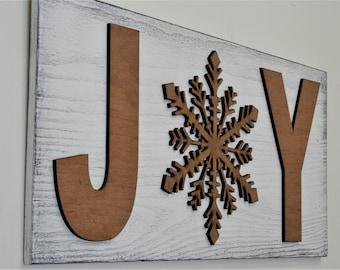 JOY Wood Sign Christmas Wall Decor Christmas Sign