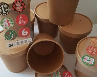 24 paper cups with lid advent calendar red green