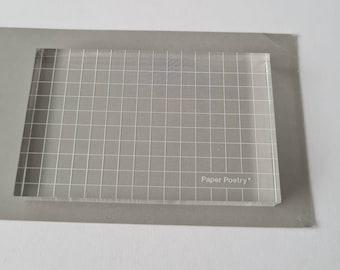 Stamp block acrylic acrylic block 8 x 5 cm with grid