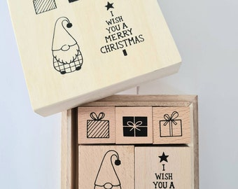 Stamp set Christmas 5 Christmas stamps in wooden box Christmas elves