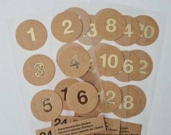 24 Advent Calendar Numbers Sticker KraftPapier gold