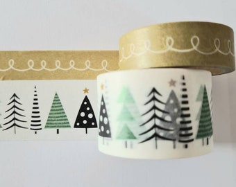Set of 2 Washi Tape Masking Tape Christmas Tape