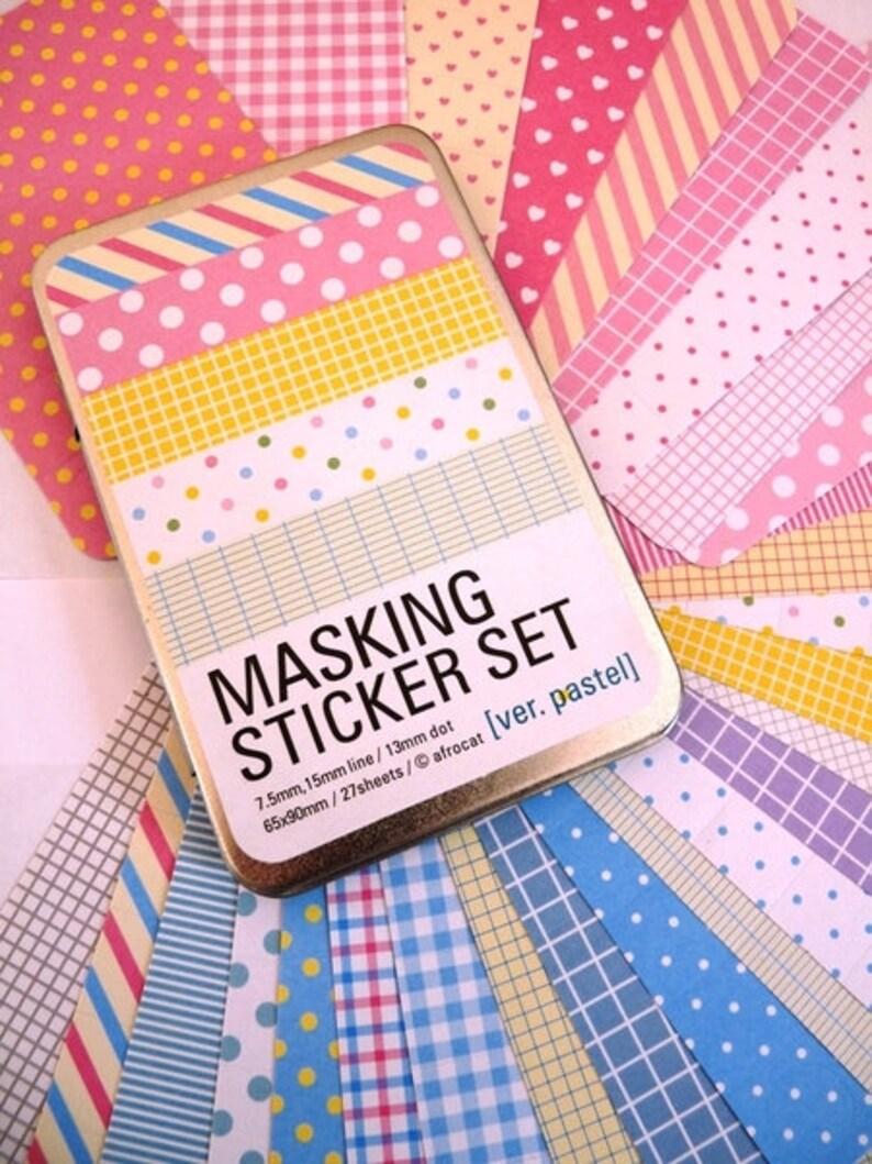 Masking tape sticker Set pastel in metal box image 0