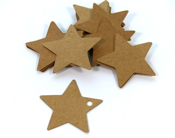 100 Stars of Kraft Paper Pendant Labels
