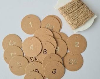 24 Advent Calendar Numbers Pendant Kraft Paper Gold