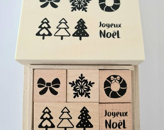 Stamp set Christmas 5 Christmas stamps in wooden box Joyeux Noël