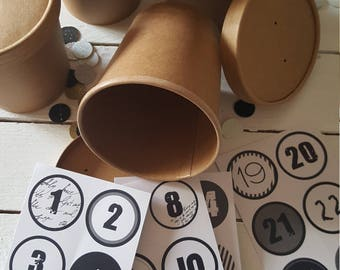 24 paper cups brown advent calendar with stickers black and white