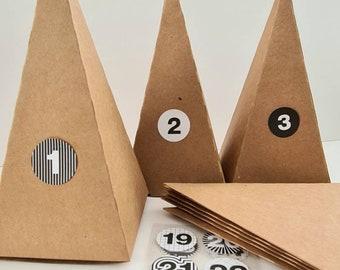 Advent Calendar Boxes Boxes brown Kraft Paper Pyramids for filling incl. sticker black white